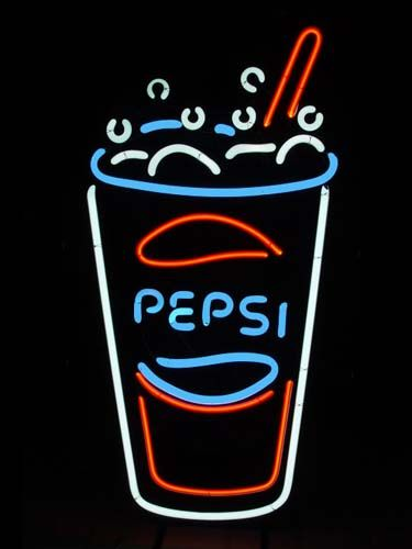 Glass of Pepsi in Neon
